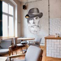 Черно-белый портрет на стене кухни своими руками