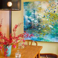 Абстрактная живопись в декоре кухни