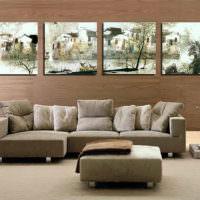 Модульная картина на стене с отделкой из ламината