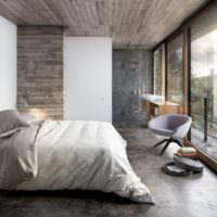 Серый ламинат в интерьере спальни
