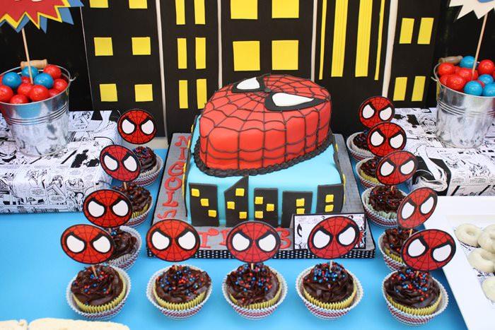 Оформление дня рождения ребенка в тематике человека-паука