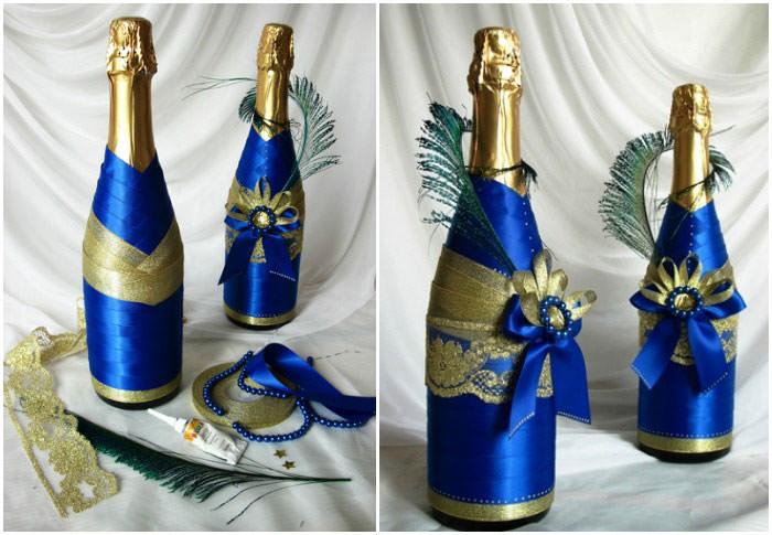 Декор бутылки шампанского для свадьбы своими руками
