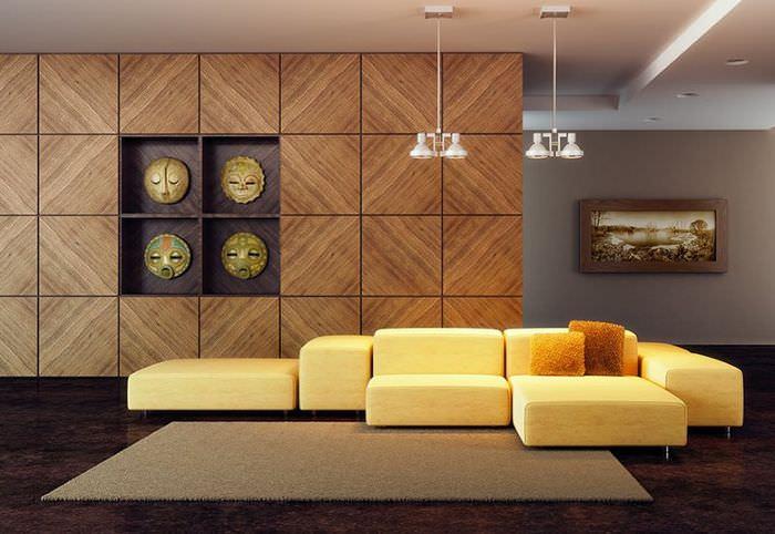 Отделка стены в современной гостиной деревянными панелями