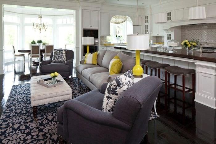 Дизайн проект гостиного помещения в современном стиле