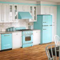 Интерьер кухни-гостиной в стиле ретро