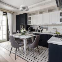 Сочетание серого цвета с белым в интерьере кухни