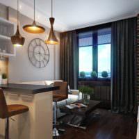 Светильники над барной стойкой в кухне-гостиной