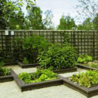 Деревянные грядки в дизайне садового участка