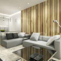 Деревянные панели в дизайне однушки
