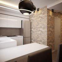 Кирпичная стена в стиле лофт на кухне однушки