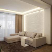 Подсветка ниш в гостиной однокомнатной квартиры