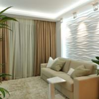 Гипсовые панели с подсветкой над диваном в однокомнатной квартире