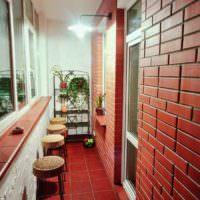 Отделка в стиле лофт балкона однокомнатной квартиры