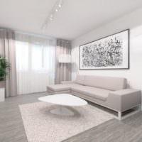 Картина над диваном в однокомнатной квартире панельного дома современной постройки