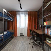 Двухярусная кровать в интерьере однокомнатной квартиры