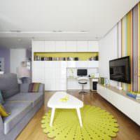 Яркие цвета в дизайне однокомнатной квартиры