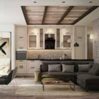Дерево и кирпич в дизайне однокомнатной квартиры