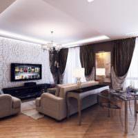 Черные шторы в дизайне гостиной