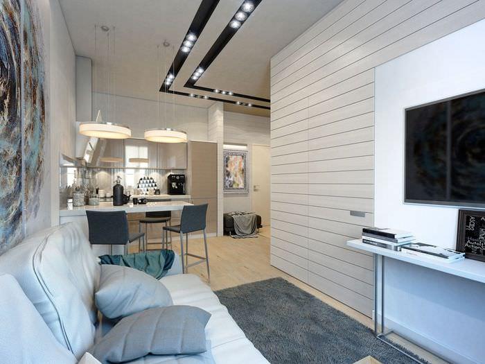 Зона для отдыха с диваном в однокомнатной квартире
