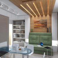 Подсветка деревянного потолка в интерьере гостиной