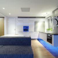 Зонирование кухни=гостиной с помощью освещения