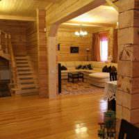 Освещение гостиной в деревянном доме