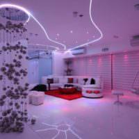 Светодиодное освещение в интерьере жилой комнаты