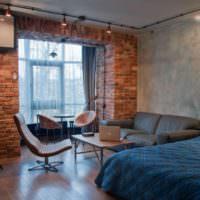 Софиты в гостиной индустриального стиля