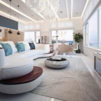 Дизайн освещения просторной гостиной комнаты с панорамными окнами