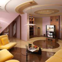 Многоуровневый потолок в дизайне гостиной комнаты