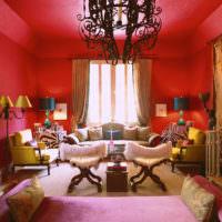 Красный цвет в интерьере помещения