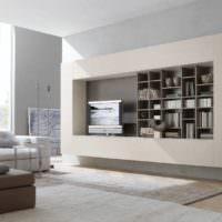 Книжные полки и телевизор на стене в гостиной