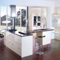 Интересный кухонный остров на кухне частного дома
