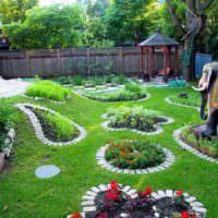 Садовые клумбы с кирпичными бордюрами