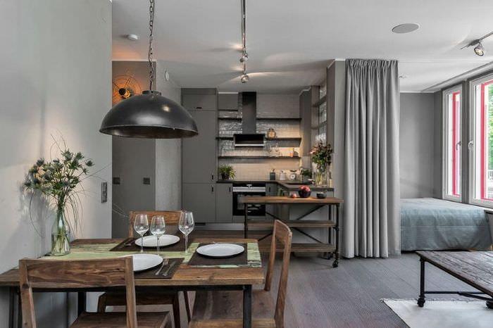 Однокомнатная квартира с оформлением в стиле кантри