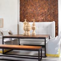 Отделка ниши в стене деревянной мозаикой