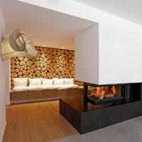 Декор стен с помощью спилов дерева