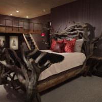 Декор спальни натуральным деревом