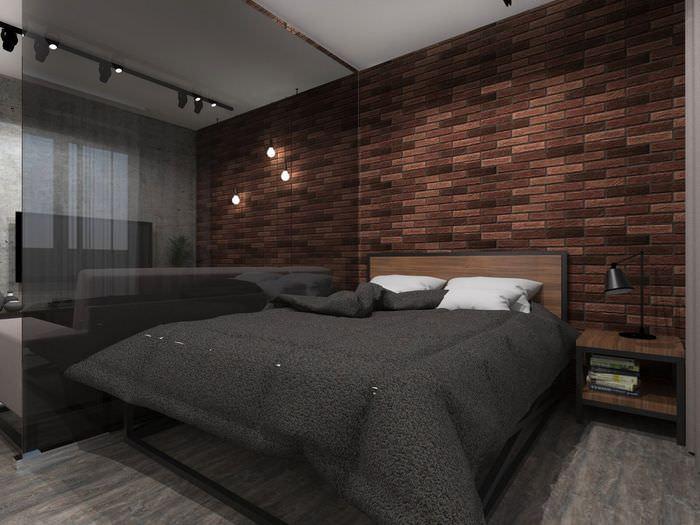 Зона спальни в однокомнатной квартире после перепланировки