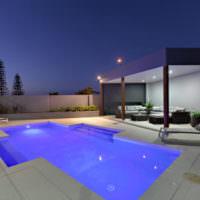 Загородный бассейн с беседкой в стиле модерн