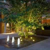 Фонтан с подсветкой во дворе загородного дома