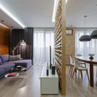 Разделение на зоны в однокомнатной квартире
