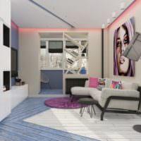 Неоновая подсветка под потолком в однокомнатной квартире