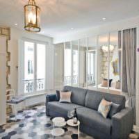 Прозрачная перегородка в дизайне однокомнатной квартиры