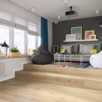 Подиум в дизайне однушки панельного дома