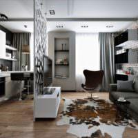 Черно-белый интерьер однокомнатной квартиры