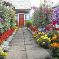 Клумбы с цветами по краям садовой дорожки