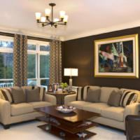 Темные стены светлый потолок в дизайне гостиной