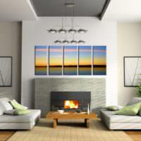 Модульная картина над камином в гостиной