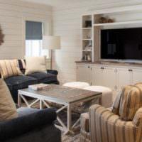 Уютная гостиная в деревенском стиле